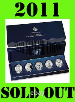(2) 2011 25th Anniversary 5 Coin Set American Silver Eagle Unopened Sealed Box