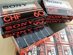 Rare Box of 100 New Sealed Sony CHF 60 Cassettes. All the 10 boxes are unopened